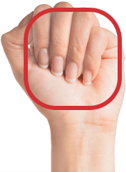 Closed fist facing palm forward + square with round edges drawn over hands