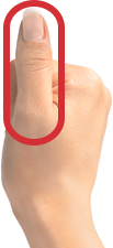 Fisted hand with thumb sticking up + square oval drawn over thumb