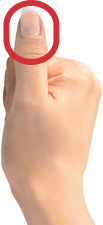 Fisted hand with thumb sticking up + square oval drawn over thumb tip