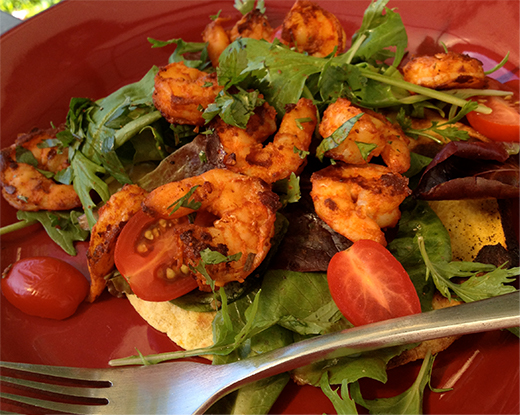 Grilled Tortilla and Shrimp Salad