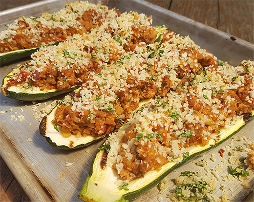 Grilled Turkey Stuffed Zucchini Boats
